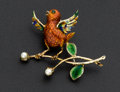 Estate Jewelry:Brooches - Pins, Cultured Pearl, Enamel, Chrysoprase and Gold Brooch. ...