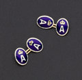 Estate Jewelry:Cufflinks, Enamel and Gold Cufflinks. ...