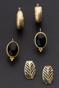 Estate Jewelry:Earrings, Black Onyx and Gold Earring Lot. ... (Total: 3 Items)