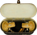 Military & Patriotic:WWI, Beautiful Horstmann Company Naval Officers' Epaulettes, Sword Beltand Chapeau in a Japanned-Tin Storage Case....