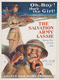"Military & Patriotic:WWI, World War I Home Front Salvation Army Poster: ""Oh, Boy ! That's theGirl.""..."
