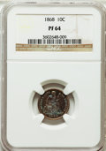 Proof Seated Dimes: , 1868 10C PR64 NGC. NGC Census: (35/28). PCGS Population (36/24).Mintage: 600. Numismedia Wsl. Price for problem free NGC/P...