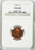 Proof Lincoln Cents: , 1937 1C PR65 Red NGC. NGC Census: (166/97). PCGS Population(402/187). Mintage: 9,320. Numismedia Wsl. Price for problem fr...