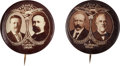 Political:Pinback Buttons (1896-present), Roosevelt & Fairbanks and Parker & Davis: Pair of Real Photo Sepia Jugates.... (Total: 2 Items)