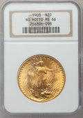 Saint-Gaudens Double Eagles, 1908 $20 No Motto MS66 NGC....