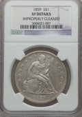Seated Dollars: , 1859 $1 -- Improperly Cleaned -- NGC Details. XF. NGC Census:(2/71). PCGS Population (18/102). Mintage: 255,700. Numismedi...