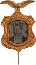 Political:Ferrotypes / Photo Badges (pre-1896), Winfield S. Hancock: Large, Impressive Ferrotype Badge....