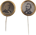 Political:Ferrotypes / Photo Badges (pre-1896), Ulysses S. Grant and Horace Greeley: Pair of FerrotypeStickpins.... (Total: 2 Items)