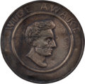 Political:Ferrotypes / Photo Badges (pre-1896), Abraham Lincoln: Highly Desirable Wide Awake Hat Badge....