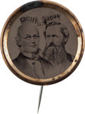 Political:Ferrotypes / Photo Badges (pre-1896), Greeley & Brown: Exceptional Ferrotype Jugate....