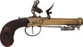 Handguns:Muzzle loading, Unmarked Boxlock Flintlock Pistol with Spring-Loaded Bayonet. ...