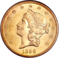 Liberty Double Eagles, 1856-S $20 AU55 PCGS. CAC. Variety 17N....