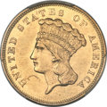 Three Dollar Gold Pieces, 1857-S $3 -- Scratch -- PCGS Genuine. AU Details....