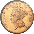 Three Dollar Gold Pieces, 1874 $3 MS62 PCGS....