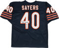 """Football Collectibles:Uniforms, Gale Sayers """"HOF 77"""" Signed Chicago Bears Jersey...."""