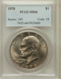 Eisenhower Dollars: , 1978 $1 MS66 PCGS. PCGS Population (344/5). NGC Census: (132/5). Mintage: 25,702,000. Numismedia Wsl. Price for problem fre...