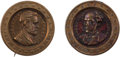 Political:Ferrotypes / Photo Badges (pre-1896), Ulysses S. Grant and Horatio Seymour: Brass Shell PortraitBadges.... (Total: 2 Items)