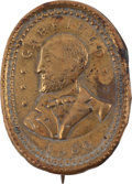 Political:Ferrotypes / Photo Badges (pre-1896), James A. Garfield: Oval Brass Shell Portrait Badge....