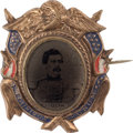 Political:Ferrotypes / Photo Badges (pre-1896), George McClellan: Hand-Painted Ferrotype Badge....