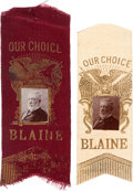 Political:Ribbons & Badges, James G. Blaine: Matching Silk Ribbons from 1888. ... (Total: 2 Items)