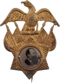 Political:Ferrotypes / Photo Badges (pre-1896), James A. Garfield: Uncommon Ferrotype Badge....