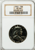 Proof Franklin Half Dollars: , 1962 50C PR68 NGC. NGC Census: (1910/91). PCGS Population(1005/62). Mintage: 3,218,019. Numismedia Wsl. Price for problem...