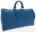 Luxury Accessories:Bags, Louis Vuitton Blue Epi Leather Keepall 50cm Weekender OvernightBag. ...