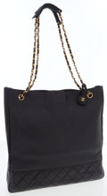 Luxury Accessories:Bags, Chanel Black Lambskin Leather Large Shoulder Tote Bag. ...