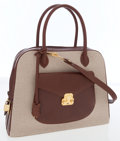 Luxury Accessories:Bags, Henri Bendel Brown Leather & Cream Canvas Bag with ShoulderStrap. ...