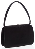 Luxury Accessories:Bags, Jane Brak Black Suede Evening Bag with Crystal Closure. ...