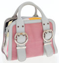 Luxury Accessories:Bags, Emilio Pucci Pink Leather & Abstract Print Microfiber Small TopHandle Bag. ...