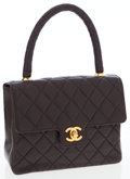 Luxury Accessories:Bags, Chanel Brown Lambskin Leather Top Handle Bag with Gold Hardware....