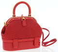 Luxury Accessories:Bags, Judith Leiber Red Leather Top Handle Bag with Shoulder Strap. ...