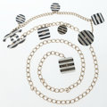 Luxury Accessories:Accessories, Chanel Silver & Enamel Necklace or Belt with Multiple CC Pendants. ...