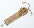 Luxury Accessories:Accessories, Chanel Gold & Enamel Floral Chain Bracelet with CC Pendants....