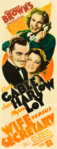 "Movie Posters:Drama, Wife vs. Secretary (MGM, 1936). Insert (14"" X 36"").. ..."