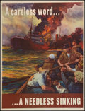 """Movie Posters:War, World War II Propaganda (U.S. Government Printing Office, 1942).OWI Poster No. 24 (28.5"""" X 37""""). """"A Careless Word...A Needl..."""