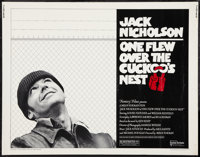"One Flew Over the Cuckoo's Nest (United Artists, 1975). Half Sheet (22"" X 28""). Pre-Academy Award Style. Drama..."