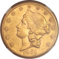 Liberty Double Eagles, 1859-S $20 AU55 NGC. CAC....