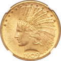Indian Eagles, 1909-D $10 MS62 NGC. CAC....