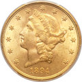 Liberty Double Eagles, 1894-S $20 MS63+ PCGS. CAC....