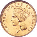 Three Dollar Gold Pieces, 1887 $3 AU58 NGC....