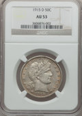 Barber Half Dollars: , 1915-D 50C AU53 NGC. NGC Census: (16/448). PCGS Population(27/567). Mintage: 1,170,400. Numismedia Wsl. Price for problem ...