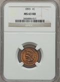 Indian Cents, 1893 1C MS63 Red and Brown NGC. NGC Census: (78/256). PCGSPopulation (131/243). Mintage: 46,642,196. Numismedia Wsl. Price...