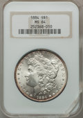 Morgan Dollars: , 1884 $1 MS64 NGC. NGC Census: (6600/2168). PCGS Population(5328/2495). Mintage: 14,070,875. Numismedia Wsl. Price for prob...