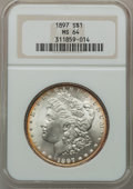 Morgan Dollars: , 1897 $1 MS64 NGC. NGC Census: (5949/1659). PCGS Population(4958/1746). Mintage: 2,822,731. Numismedia Wsl. Price for probl...