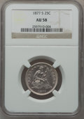 Seated Quarters: , 1877-S 25C AU58 NGC. NGC Census: (27/259). PCGS Population(30/272). Mintage: 8,996,000. Numismedia Wsl. Price for problem ...