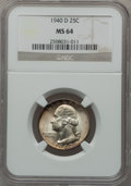 Washington Quarters: , 1940-D 25C MS64 NGC. NGC Census: (297/665). PCGS Population(665/1065). Mintage: 2,797,600. Numismedia Wsl. Price for probl...