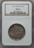Commemorative Silver: , 1936 50C Oregon MS65 NGC. NGC Census: (548/659). PCGS Population(867/720). Mintage: 10,006. Numismedia Wsl. Price for prob...