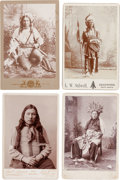 Photography:Cabinet Photos, Cabinet Cards: Four Photos of Finely Dressed, Indian Chiefs andBraves.... (Total: 4 Items)